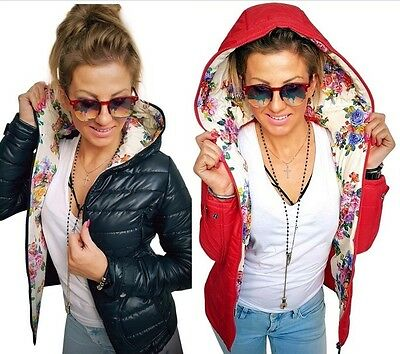 Womens Ladies Jacket Spring Coat Hooded Floral Raincoat Quilted Size 6 8 10 12
