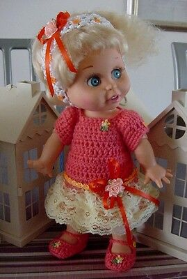 """Crochet Halloween Dress for 13"""" Galoob Baby Face Dolls - By DollDarlings"""