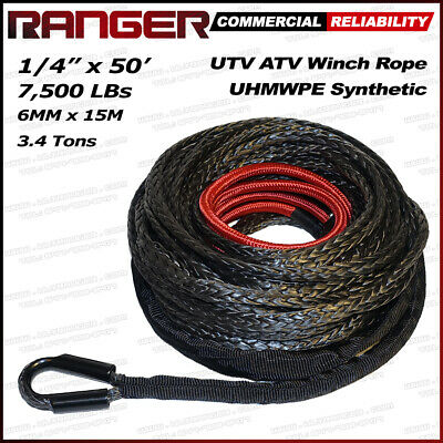 "Ranger 1/4"" x 50' Dyneema Synthetic Winch Rope 6 MM x 15 M for UTV / ATV Winch"