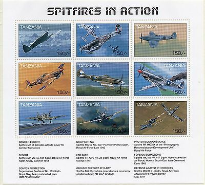 Tanzania Spitfires in Action m/sheet UM (MNH)