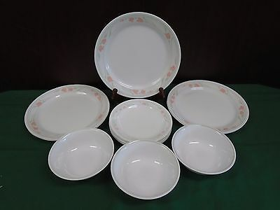 Vintage Retired Corelle Dinnerware PEACH GARLAND 15pc Set of Dishes Plates Bowls