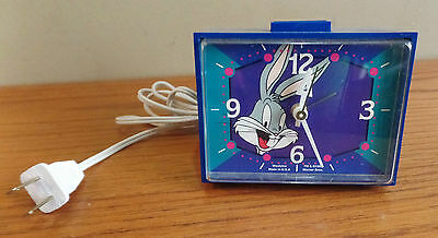 Vintage Blue BUGS BUNNY Westclox Electric alarm CLOCK~Warner Bros.1994