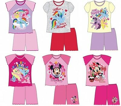 Girls Kids Infants Character Short Shortie Pyjamas Set Size Age 12 Mths-10 Years