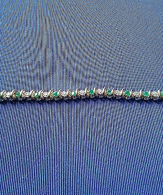 10ct Yellow Gold Diamond and Emerald  Bracelet