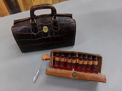 Vintage Upjohn Brown Leather Faux Alligator Doctor Dr. Bag & Extras