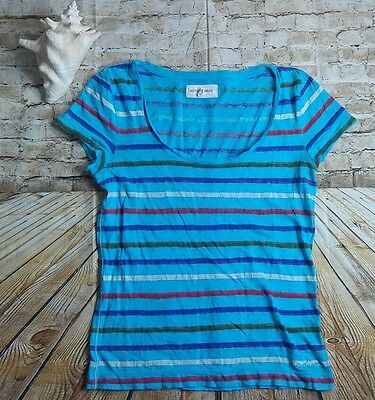 Aeropostale Top T Shirt Size XL Blue Striped Short Sleeve Scoop Neck