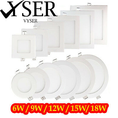LED Recessed Light Panel Ceiling Down Light Ultra Slim Round & Square Flat Panel