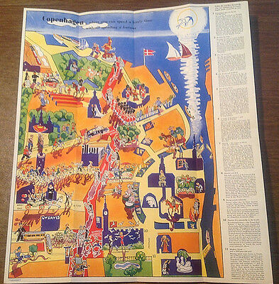 Vtg 1930s Copenhagen Denmark Illustrated Tourist Map Egmont Petersen, c/o Illum