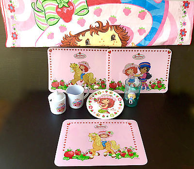 Strawberry Shortcake Lot Tablecloth Milk Sugar /cake Platter Tumbler Placemats