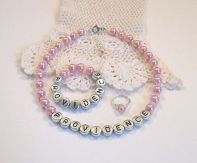 Infant Necklace, Bracelet, Ring Personalized Newborn Set Baby Girl Custom Pearl