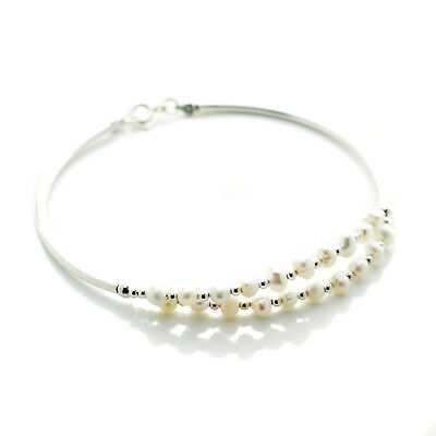 Pearl Bangle White Freshwater Pearls Sterling Silver Clasp Gift Pouch