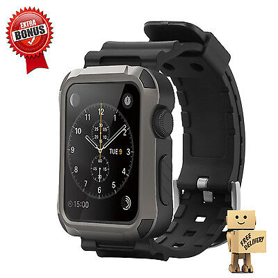 Apple Watch Case Strap Bands Matte Screen Work Rugged Protector For 42mm Iwatch