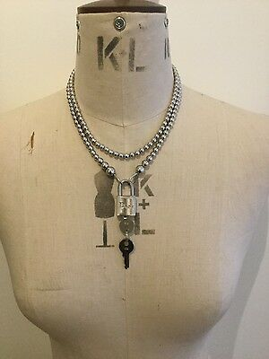 Extremely Rare! Genuine Christian Dior Beaded Padlock Necklace With Keys -