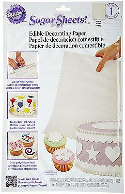 "Wilton 8x11"" Sugar Sheet Edible Decorating Paper Peel Punch Cut Borders - White"