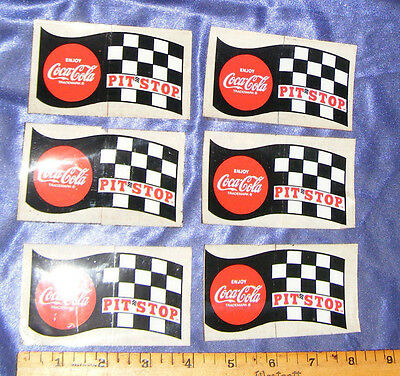 COCA COLA DECAL SIGN LOT 6 VTG PIT STOP CHECKER FLAG & DRIVERS CHECK LIST 1960s