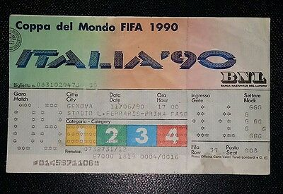 Italia 90 Original 1990 world cup Scotland v Costa Rica  ticket