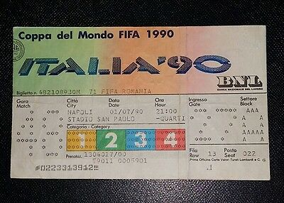 Italia 90 Original 1990 world cup England v Cameroon  quarter final ticket