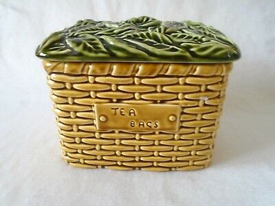 Vintage Sylvac Pottery Made In England 5038 Tea Bags Basket Container & Lid