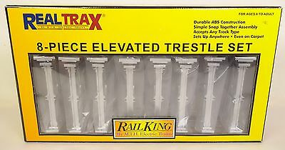 """Rail King By Mth #40-1047 """"real Trax"""" Eight Piece Elevated Trestle Set-Nib!"""