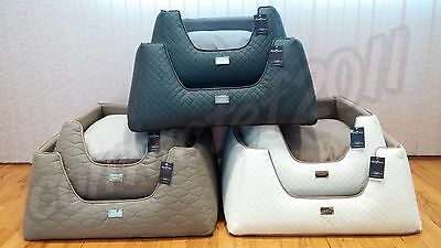 AntePrima Luxury Quilted Italian Bicast Leather Dog Beds MADE IN ITALY NWT!