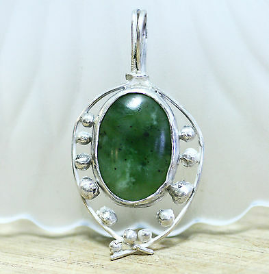 Large Natural BC British Columbia Jade Pendant in Solid Sterling Silver 20th Ann