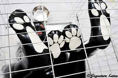 Latex pet play paws set, Front and rear set in black with white pads.