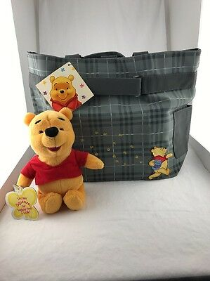 Winnie The Pooh Talking Plush And Grey Tote Diaper Bag