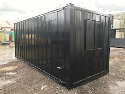 21ft x 8ft Anti Vandal Office - black secure open plan container office