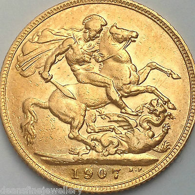 1907  Gold FULL Sovereign Edward VII  LONDON  Mint