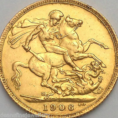1906  Gold FULL Sovereign Edward VII  LONDON  Mint*