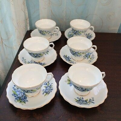 Rosina Bone China Teacups 6 Cups and 6 Saucers.  MADE IN ENGLAND
