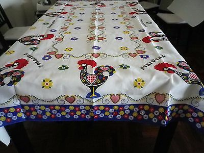 Portuguese Good Luck Rooster Rectangular Table Cloth - Portugal Flowers Design
