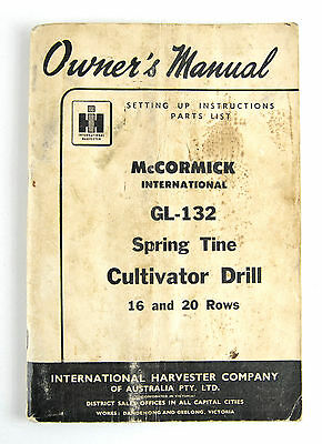 International McCormick GL-132 spring tine cultivator 1955 instructions & parts