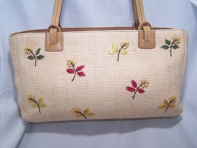 Fossil Floral Embellishment Straw Leather Shoulder Bag Purse Tote