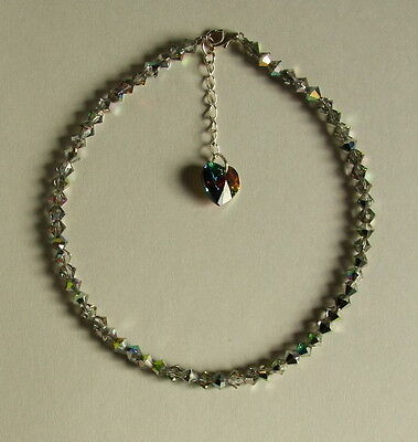 "9.5"" ANKLET STERLING SILVER 925 Green Pink SWAROVSKI Elements CRYSTAL"