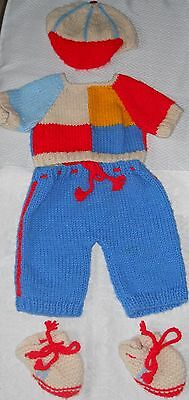 5 Pc Vintage Cabbage Patch Kids CPK Knitted Outfit Sweater Cap Pants Shoes