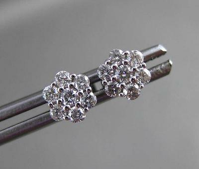 Antique .41Ct Diamond 14Kt White Gold 3D Flower Stud Earrings Beautiful! #24230