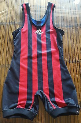 YOUTH M Brute Wrestling Singlet Reversible Red Blue USA Polyester Lycra