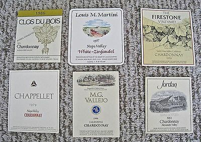 Vintage Wine Label Lot 6 California Firestone Vallejo Chardonnay Napa Valley