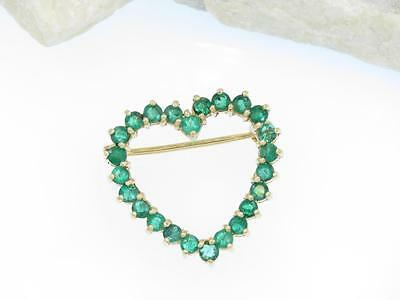 Estate Solid 14k Yellow Gold Green Demantoid Garnet Heart Brooch Pin