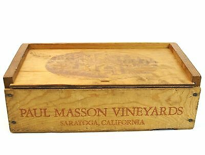 Paul Masson Vineyards Saratogo California Vintage Wood Box Slide Top