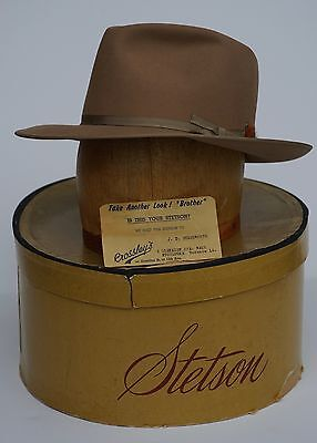 Impeccable 6 3/4 Tan Royal Stetson Open Road Fedora with Original Box