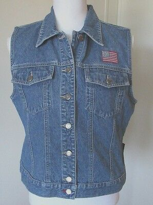 Women's CRAZY HORSE Denim Vest USA Theme Embroidered Embellishment size M