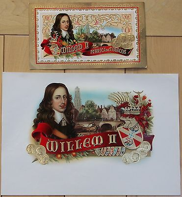 Willem II vintage embossed cigar box label, set of 2