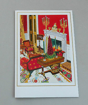White House Christmas Card 2004 George Laura Bush Red Room