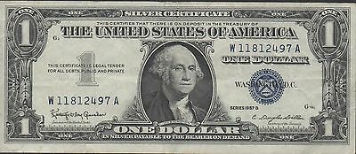 USA  $1  Silver Certificate  Series of 1957B  Circulated Banknote