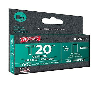 "Arrow Fastener 208 1/2"" T20 Staples"