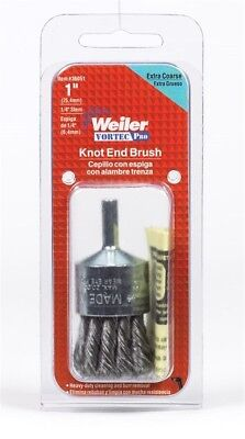 """Weiler Knot Wire End Brush 1 """" 20000 Rpm Extra Coarse 1/4 """" Arbor"""