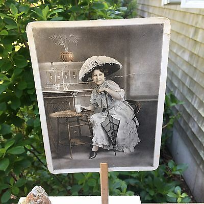 Vintage Paper Advertising Hand Fan Local Pharmacy Harwich MA Woman Patron