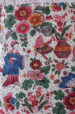 Vintage French Printed Chintz Chinoiserie Fabric c1930-1940s